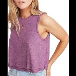 NWT Free People relaxed tank in plum size S